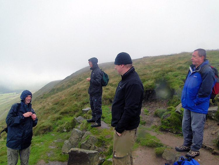 Finding shelter for a break on Pendle Hill