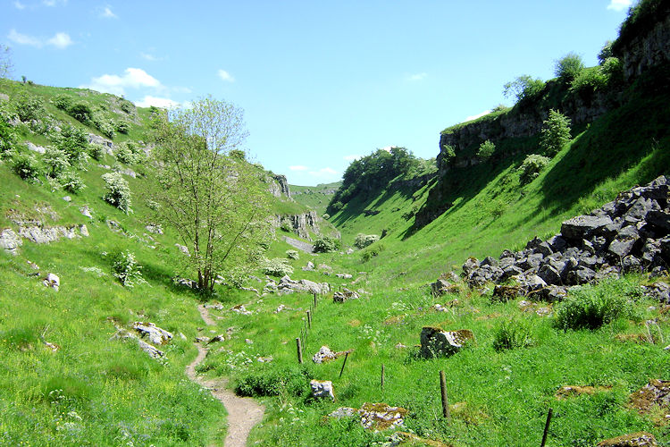 Into Lathkill Dale near disused Ricklow Quarry