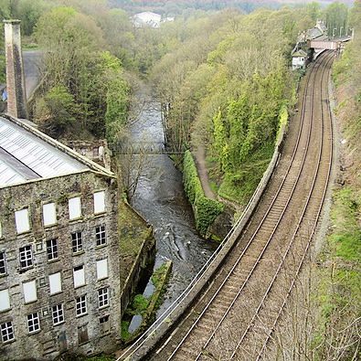 Railway and River Goyt at New Mills