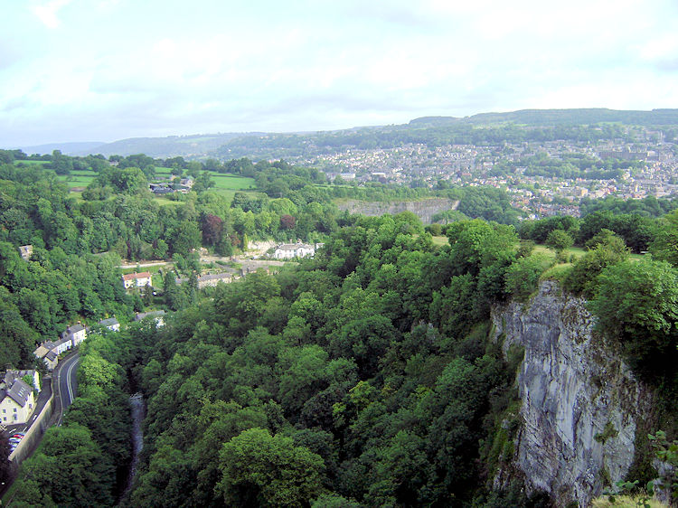 The view north to Matlock from High Tor