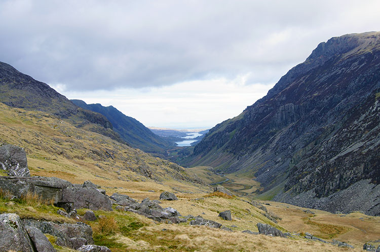 Looking down the Pass of Llanberis
