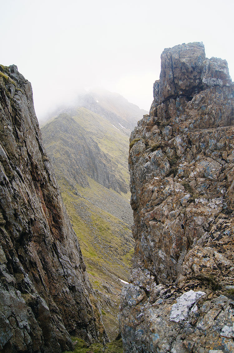A steep drop to the north of Crib Goch