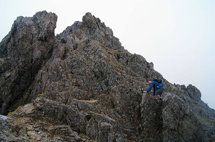 Climbing one of the pinnacles on Garnedd Ugain