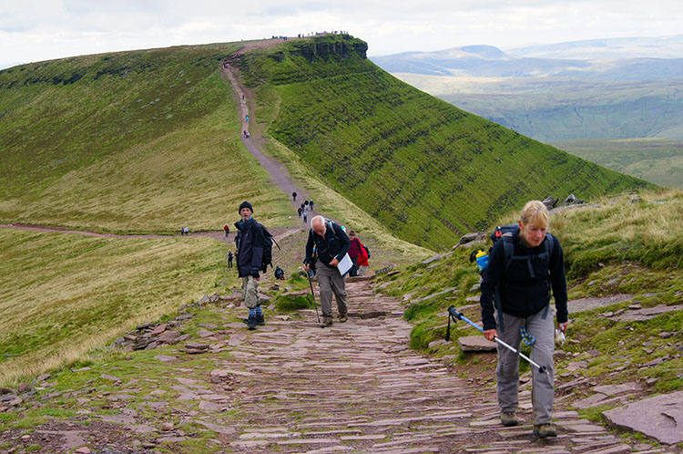 Climbing the final steps to Pen y Fan