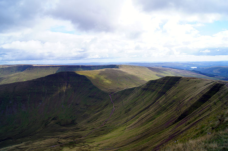 Magnificent mountain profiles as seen from Cribyn