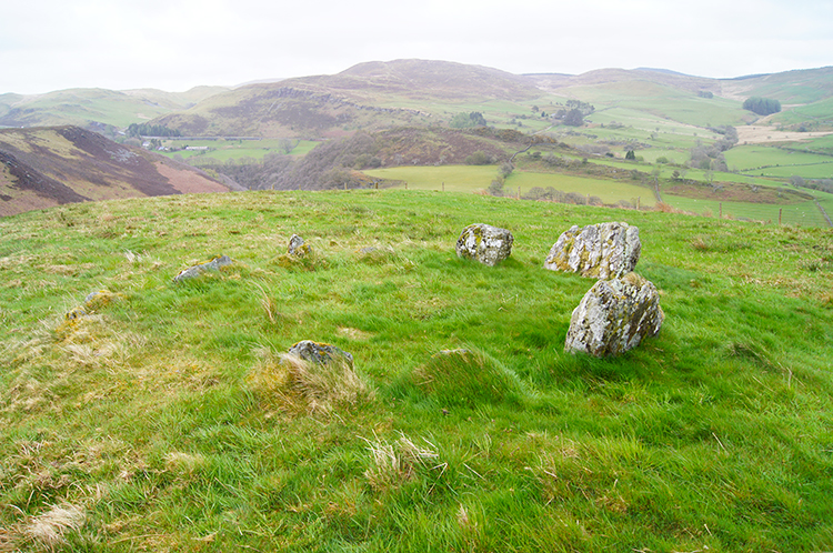 Unmarked stone circle on Bryn Bras